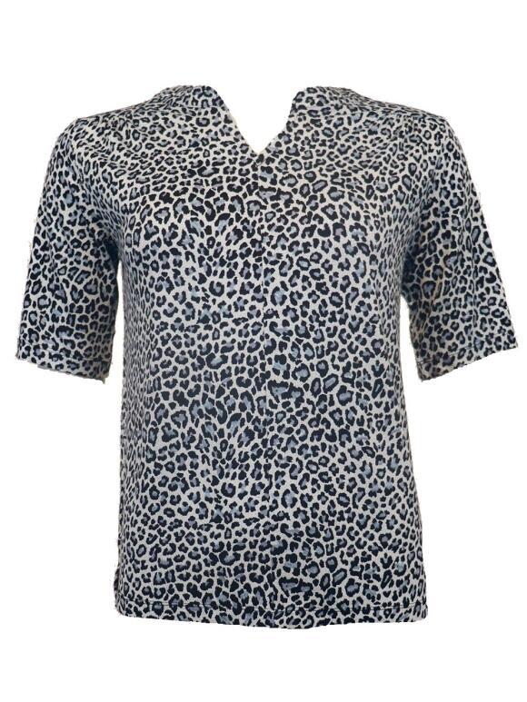 Ofelia - OFELIA BLÅ LEOPARD T-Shirt