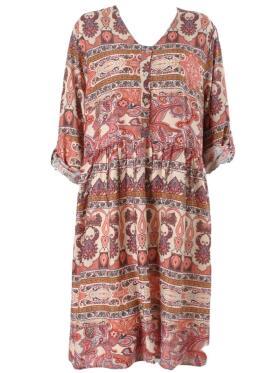DNY - DNY mønstret kjole i røde toner